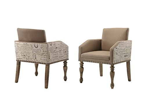 Roundhill Furniture Birmingham Script Printed Driftwood Finish Dining Arm Chair with Nail head, Set of 2,