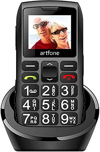 Big Button Mobile Phone for Elderly, artfone C1 Senior Mobile Phone With SOS Button | Talking Number | 1400mAh Battery | Dual SIM Unlocked | Torch Side Buttons | Bluetooth | Charging Dock(Black)