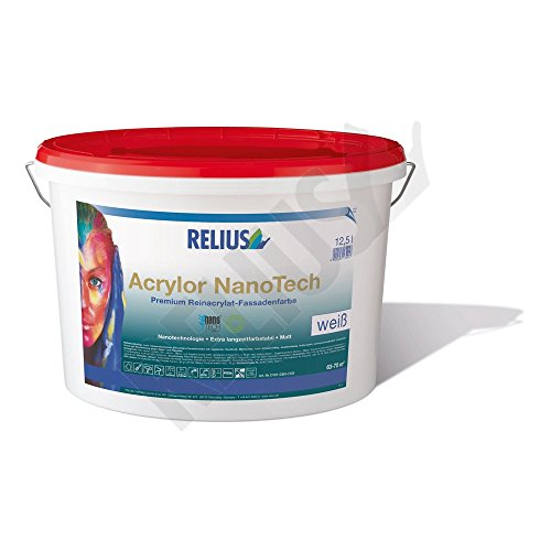 Relius Acrylor NanoTech Premium Reinacrylat-Fassadenfarbe Weis Matt 3 Liter