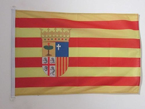 AZ FLAG Bandera de ARAGÓN 90x60cm Uso Exterior - Bandera ARAGONESA 60 x 90 cm Anillos