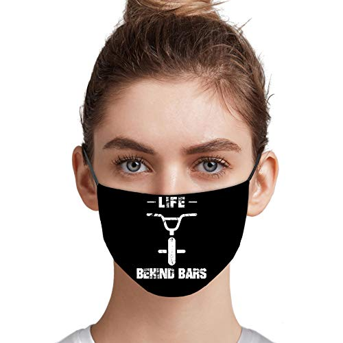 Life Behind The Bars Funny Mountain Biking Bicycle Cycling Cloth Printed Face Mask For Men Women Reusable