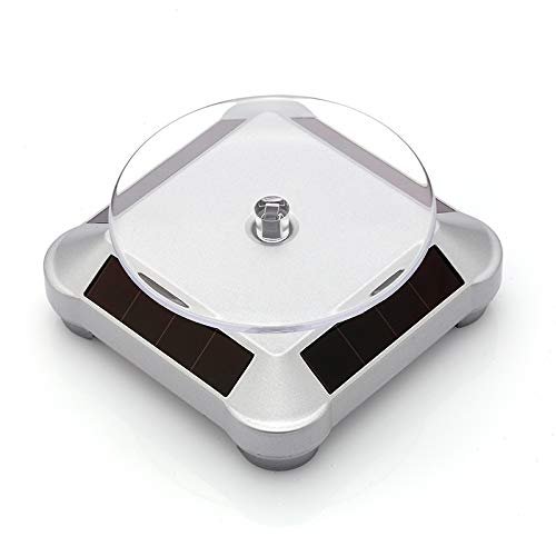 Solar Turntable 360° Rotating Stand, Double Used Rotating Display for UV Resin Curing Light LCD/SLA/DLP 3D Printer Solar Power Jewelry Spinner Watch Hobby Collection Shelf
