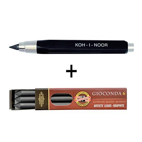 Koh-I-Noor 5344-2er Set mit Mechanischer Minenhalter für 5.6 mm Minen und 1 Packung Ersatzminen 2B (6 Stück)