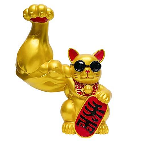 H HILABEE Resina Muscle Arm Lucky Cat Figurines Shop Bar Decoración Adornos Artes