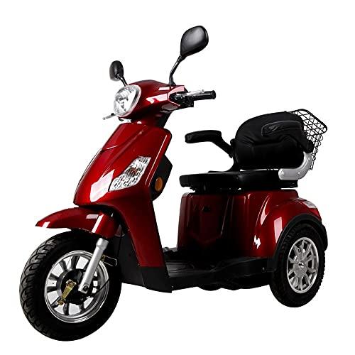Triciclo Scooter Sencilla TS9, Eléctrica, Vehículo para personas con Movilidad Reducida, 500w, Negro, Amarillo, Azul ⭐