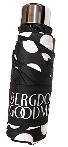 Bergdorf Goodman MICRO MINI PURSE MANUAL UMBRELLA Black With Big White Dots