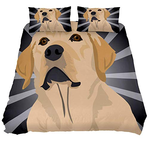 3 Pieces Polyester Duvet Cover Set,100% Natural Fabric Bedding, Morden Style with Zipper Closure, Soft and Comfy Golden Retriever Puppy Illustration Pattern Single