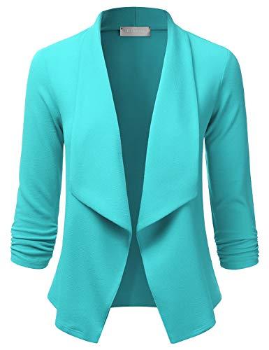 EIMIN Women's 3/4 Sleeve Blazer Open Front Office Work Cardigan Jacket Lavender L