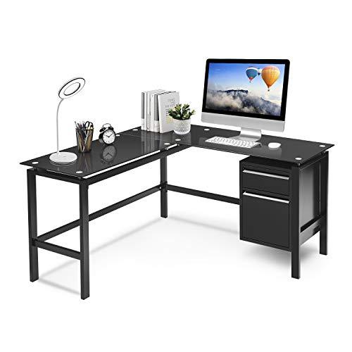 L Shaped Home Office Desk, Pataku Corner Computer Desk Modern Study Writing Table with 2 Drawers, Tempered Glass Desktop, Metal Frame, Black