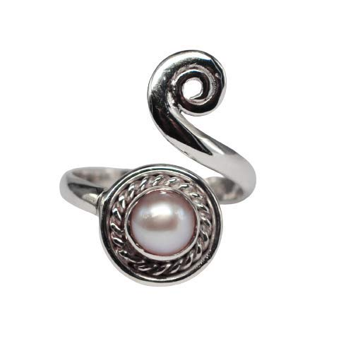 925 Sterling Silver Pearl Gemstone Adjustable Ring Size 6 US Ring Jewelry Meadows Crystalcraftindia