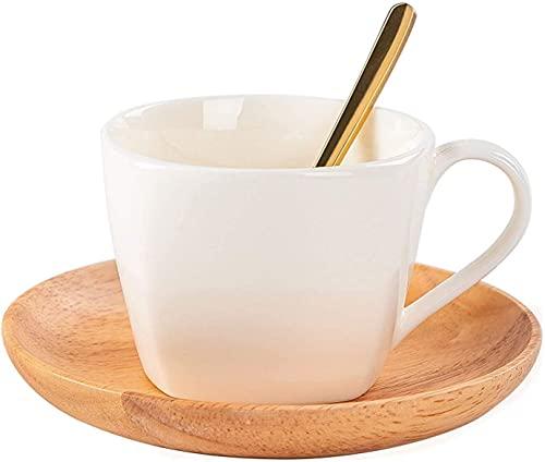 DLYDSSZZ Copa de cerámica de 6,8 oz Tazas de café de Porcelana Blanca con platillo de Madera y Cuchara de Oro Copa de Latte Cerámica para té Taza de té de café