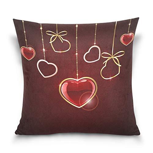 Ahomy Juego de fundas de almohada decorativas para el día de San Valentín, diseño de corazones, cuadradas, para decoración del hogar, sofá, coche, dormitorio, 50 x 50 cm