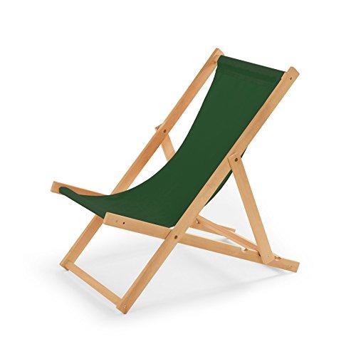IMPWOOD Chaise longue de jardin en bois, fauteuil de relaxation, chaise de plage vert