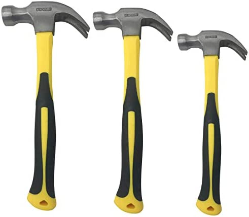 3 Pack of Claw Hammers 20 oz 16 oz 8 oz with Sure Grip Fiberglass Handles and Polished Steel product image