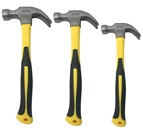 3 Pack of Claw Hammers (20 oz, 16 oz, 8 oz) with Sure-Grip Fiberglass Handles and Polished Steel Head