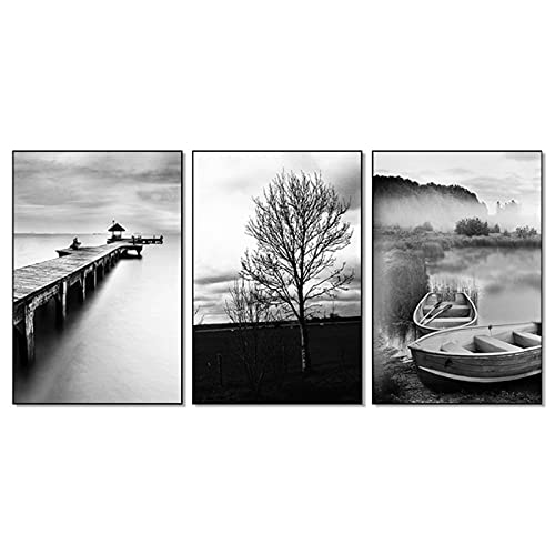 Murales 60x80cm 3 Piezas SIN Marco Minimalista Blanco y Negro Lago Árbol Puente Cartel de Barco de Madera Impresiones de Paisaje Arte de la Pared Pintura Imágenes Decoración del hogar