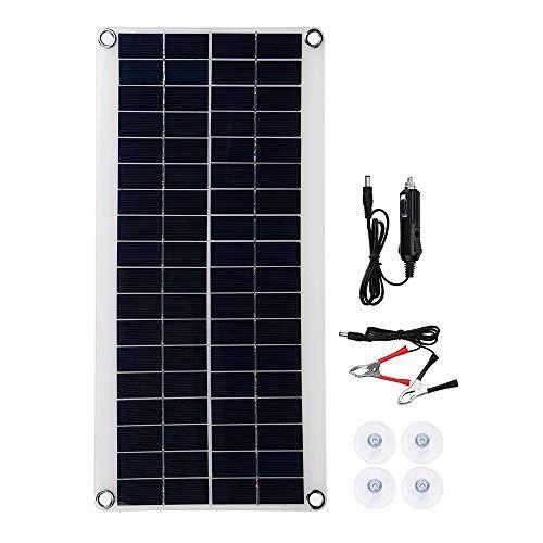 DjfLight Zonnepaneel, 8,5 W, 18 V, draagbaar zonnepaneel, USB, dubbel opladen van externe accu, zonnecel, krokodillenklemmen, autolader