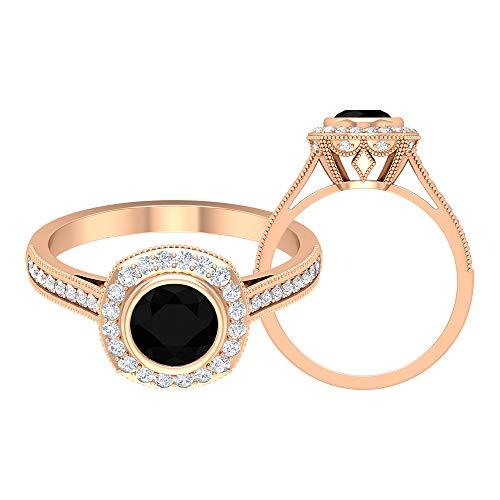 Anillo de 6 mm de ónix negro, D-VSSI, anillo de oro moissanita, anillo de compromiso halo, anillo solitario con piedra lateral (calidad AAAA), 14K Oro rosa, Size:EU 50