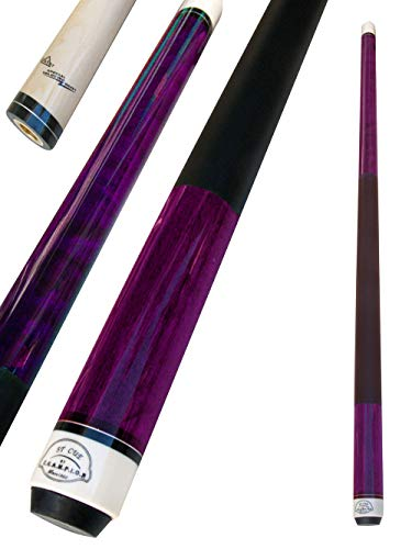 Champion ST Pool Cue Stick, Cuetec Glove,Two Black Layer Tips (Multiple Color and Weight Choices) (Dark Purple, 21oz)