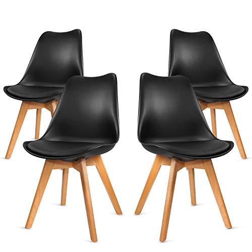 VADIM 4 Chaises Design Confortable Moderne, Chaise Salle a Manger Scandinave Rétro Pied en Bois, Chaise de Cuisine Contemporain Rembourré