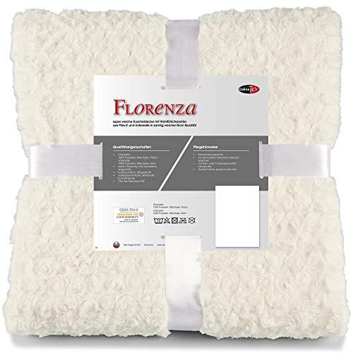 CelinaTex Florenza Kuscheldecke 150 x 200 cm weiß Mikrofaser Tagesdecke kuschelig Flauschige Plüschdecke Wohndecke