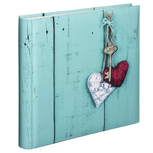 Hama Jumbo Fotoalbum, Hochzeitsalbum zum einkleben mit 100 weißen Seiten für bis zu 400 Fotos im Format 10x15, Album zum selbstgestalten, 30x30 cm, XXL Fotobuch mit Herz-Motiv in Vintage Stil, türkis