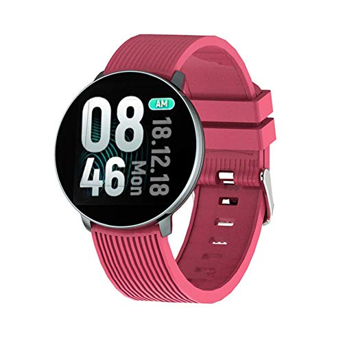 TETHYSUN Reloj inteligente Smartwatch 18 Reloj inteligente, IP67, monitor de frecuencia cardíaca, monitor de actividad física, pulsera deportiva, para hombres y mujeres, uso diario (color: rojo)