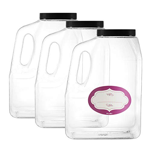 3 Pack - Clear Square Plastic Empty Storage Containers - Jars w/Plastic Airtight Lids - Empty Jugs with Handles - Wide Mouth Easy Clean - Great For Commercial & Industrial Use (3 Pack Half Gallon)