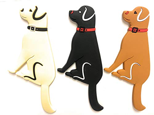 Decorative Labrador Retriever Dog Magnets for Refrigerator Office Classroom & Kitchen - Hooks for hanging Keys Towel Hangers - Sticks to Fridge White board Lockers and any Magnetic Surface