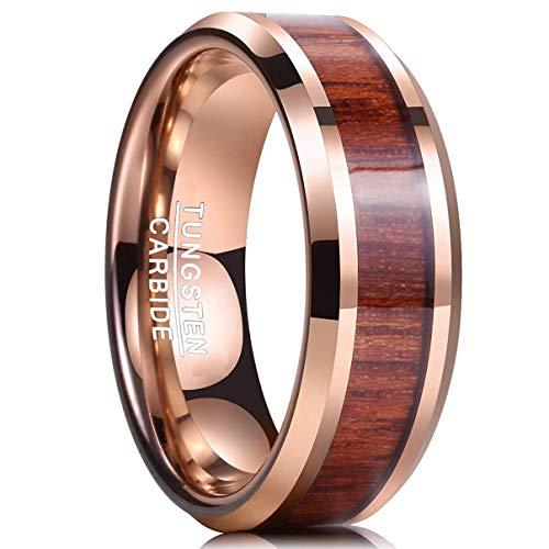 Nuncad Anello in tungsteno Largo 8mm, in Oro Rosa con Legno Tochigi Hawaii Design, Moda in Natura per Matrimonio, Fidanzamento, Partnership, Taglia 54 (14)