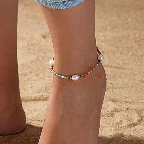 WEIYYY Pulsera de Tobillo de Concha de Cowrie con Cuentas de Semillas de Colores a la Moda, Tobilleras de Playa de Verano para Mujer, Pulsera de pie, joyería, TS5197