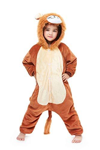 Kids Animal Onesie Cartoon Pajamas Christmas Halloween Cosplay Costume Lion 4-5 Years