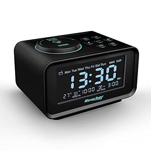 REACHER Radiosveglia Doppia Funzione Con Porte USB di Ricarica, 6 Differenti Suoni Per La Sveglia, Dimmer, Display Termometro, Radio FM Con Timer di Spegnimento, Adatto Per Camera da Letto (Nero)
