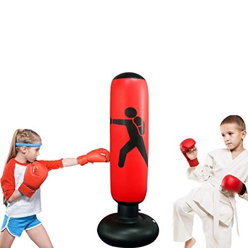Sac de Boxe Gonflable,Taekwondo Sac de Frappe karaté, Sac de Frappe Gonflable avec Colonne de Boxe et Base épaisse pour Enfant et Adultes, Exercice et Soulagement du Stress(160cm )
