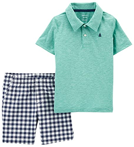 Carter's Baby Boys' 2 Pc Playwear Sets 249g396 (Turquoise/Ivory Sail, 3 Months, 3_Months)