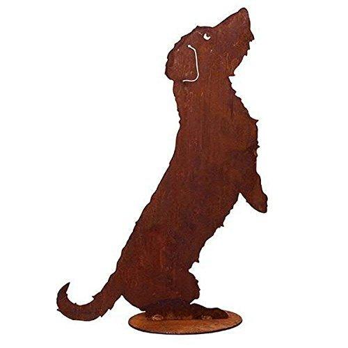Tierdeko Garten - Hunde Dekoration: Stehender Hund/Rauhaardackel auf Platte (Fester Stand) - Höhe 60cm / Breite 40cm - Edelrost Gartendekoration