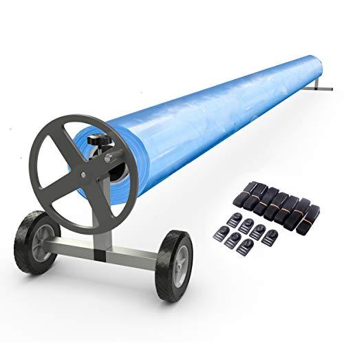 GOPLUS Pool-Aufroller Pool-Reel Schwimmbadrolle Aufrollvorrichtung für Poolabdeckung, Aluminium Aufrollsystem, Längeeinstellbar