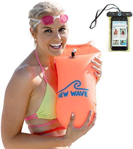 New Wave Swim Buoy - Boya Natación - La boya para Nadadores y triatletas de Aguas Abiertas para Entrenamiento o competición (Naranja PVC Media-15L)