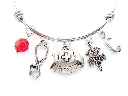 Registered Nurse Themed Personalized Bangle Bracelet