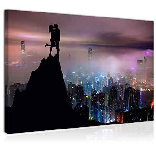Topquadro Wandbild, Leinwandbild 70x50cm, Liebespaar, Romantik, Fantasie, Stadt und Lichter, Hong...