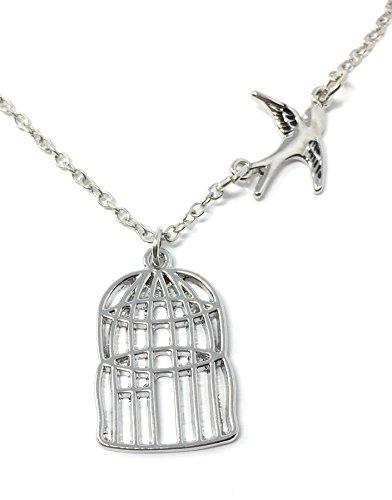 Zilveren-Toon Vogel Stel Vrij Gegraveerd Hanger Ketting 3 x 2.0cm Met 18 Inch Keten Lied Kooi Slikken
