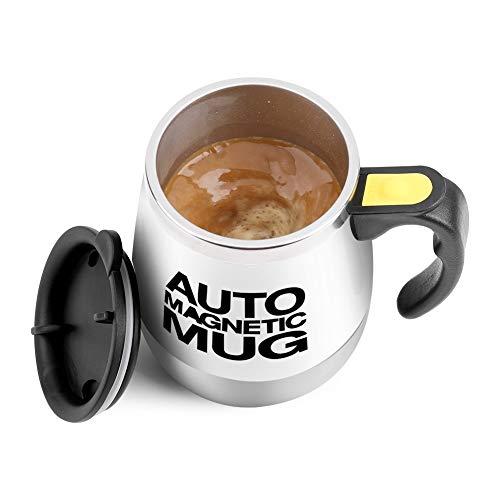 Nikou Taza de café Auto agitadora - Taza Auto agitadora eléctrica de Acero Inoxidable para Taza de café, Leche (Negro/Blanco) (Color : Blanco)