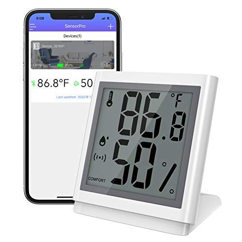Brifit Bluetooth Thermometer Hygrometer, Kabelloses Thermometer Hygrometer Innen mit LCD Bildschirm, Präzise Hygrometer Temperatur mit APP, Datenexport Funktion, für Innenraum, Wein, Gewächshaus