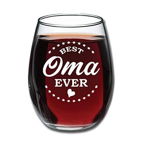 O3XEQ-8 Stemless Beste Oma Aller Zeiten Rotweinglaswaren Upgrade Gravur Milchglas - Lustiger Sarkasmus Klar Vatergeschenk White 350ml
