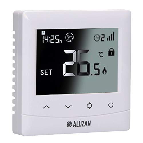 Aluzan Termostato WiFi EB-160, pantalla brillante, Smart Home programable, compatible con Amazon Alexa, Google Home, IFTTT, termostato digital Homekit, Android, iOS
