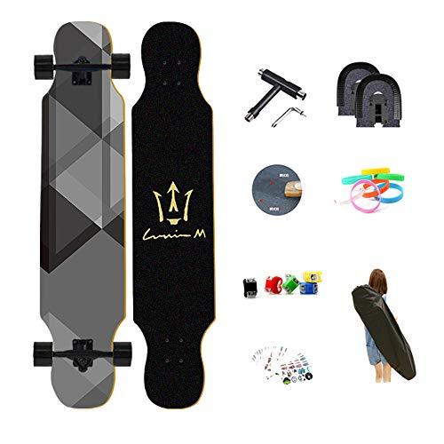 Skateboards Zwei nackte Füße Dropthrough Premium Pro Longboard Komplettes Freestyle Deluxe Hip-Hop Board für Anfänger, Geburtstagsgeschenk für Jungen & Mädchen