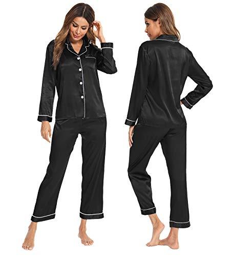 SWOMOG pijama de satén de seda para mujer, manga larga, conjunto de pijama de dos piezas con botones - Negro - S