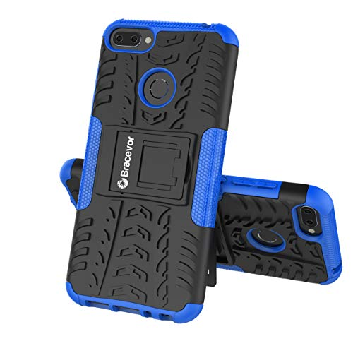Bracevor Shockproof Hybrid Kickstand Back Case Defender Cover for Honor 9N - Blue