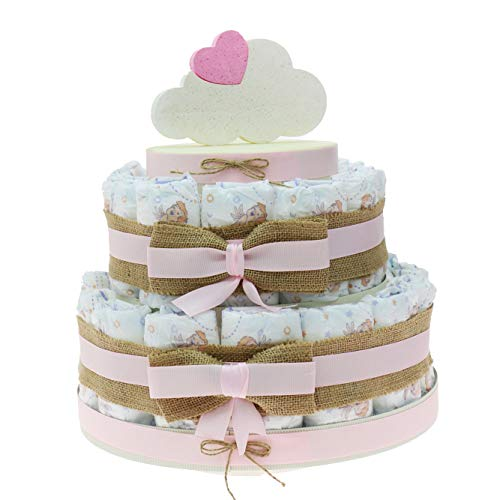 Idea Originale Regalo Torta Pannolini Bambina per Prima Infanzia, Nascita, Baby Shower Originale ed Economico Nuvoletta Bimba (Torta da 30 Pannolini)