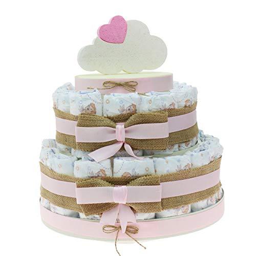 Idea original regalo tarta pañales niña para primera infancia, nacimiento, baby shower original y económico nube niña
